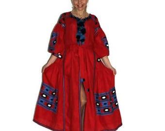 Long embroidered dress Vyshyvanka Dresses Boho Ukraine embroidery Red linen boho dress Custom bohemian clothing Vishivanka Open Dress Caftan