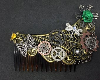 Steampunk hair comb, industrial, butterfly, art deco, dragonfly
