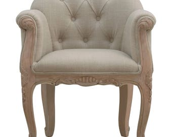 Cherington French Carved Mud Linen Accent Chair