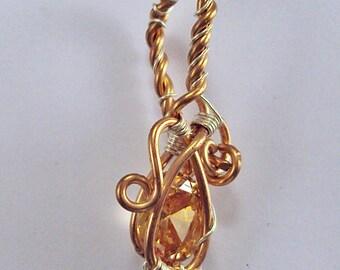 Wire Wrapped Morganite Cubic Zirconia Pendant