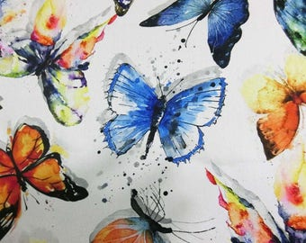 Digital Butterfly printed faux silk satin fabric material for dressmaking and Decor by the meter YGST-5010