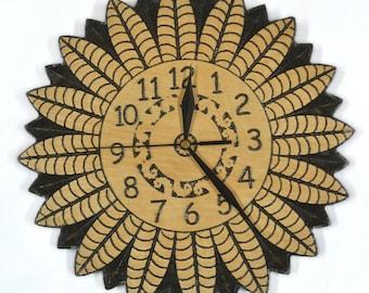 Medium wooden wall clock made of birch. kitchen decorative wall clock