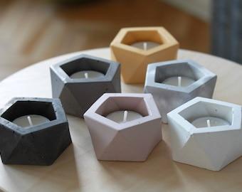 Concrete Candle holder Mini planter Concrete vessel Geometric design