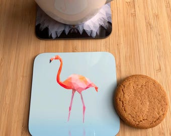 Low poly pink flamingo with water reflection on a Coaster / Hardboard Coaster / Drinks Coaster