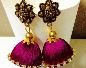 Pink Silk Thread Earring