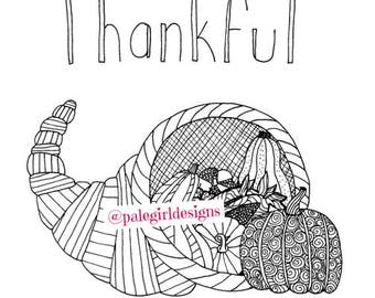 Thankful Zentangle Adult Coloring Page