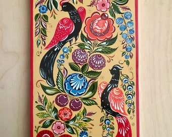 Handpainted cutting board in the style of the Gorodets painting for kitchen decor