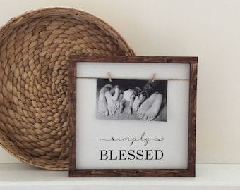 Simply Blessed Photo Frame Wood Sign| Simply Blessed Painted Wood Sign|Farmhouse Twine and Clothespin Photo Frame|Gallery Photo Frame Sign