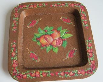 Christmas Square tray with pomegranates