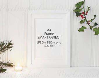 A4 Frame mockup Christmas rustic natural white frame portrait PNG + Jpeg + PSD smart object mock up - Styled Stock Photo Christmas Holiday