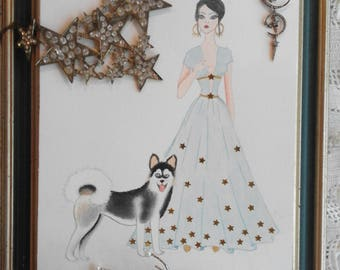Print With A Girl In Blue Dress With A Siberian Husky