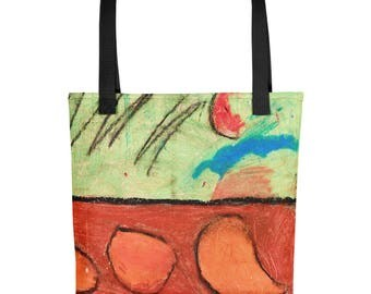 Abstract Haystacks - Amazingly beautiful full color tote bag with black handle featuring children's donated artwork.