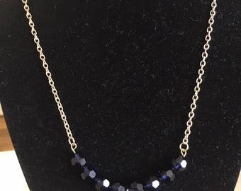 Blue swarovski crystal necklace Gold chain Clear pendant