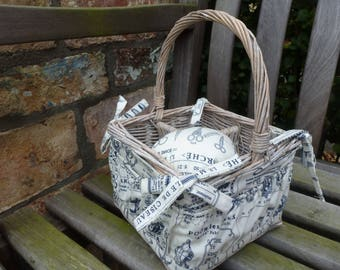 Sewing Basket, Makeup Basket, Gift Basket, Gift Idea, Organiser, Unusual, Grey Willow Wicker basket, Vintage sewing print