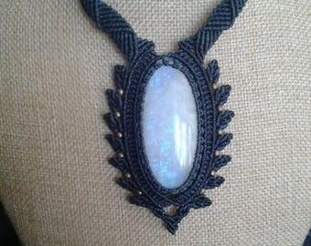 Rainbow Moonstone macrame Necklace