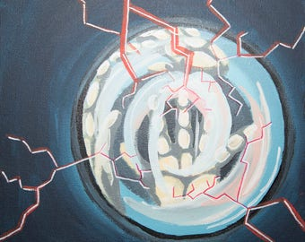 Painting hands in glass sphere