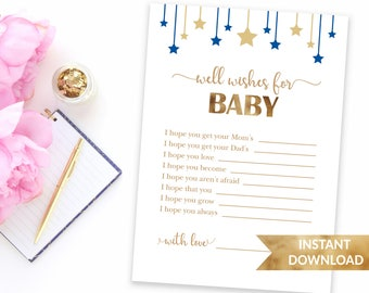 Navy blue Well wishes for baby | Dear baby advice card | Baby shower games printable | Instant download | Baby boy blue theme shower game