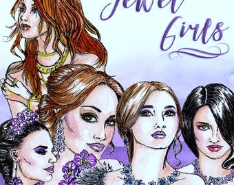 Jewel Girls Clip Art | Hand Drawn Graphics | Illlustration, Digital Cliparts | Girl Clip Art | Watercolour Clip Art | Jewels