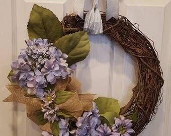 Wreath, grapevine twig wreath, door wreath, everyday wreath, floral grapevine twig wreath, wall wreath, spring wreath, summer wreath