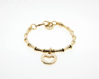Bracelet With Bones and Heart in Gold Finish. M-63-O