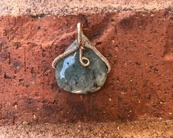 Wire wrapped amazonite pendant