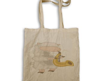 Sheep Playing Saxophone Tote bag w592r