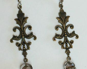 Copper and Red Flourish Earrings