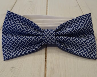 bow tie blue and white ticking
