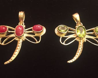 Dragonfly with Peridot or Ruby, 925 Silver Pendant