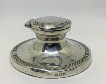 Edwardian Antique silver capstan inkwell.