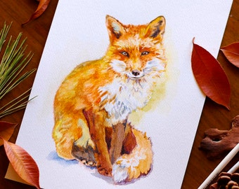 Fox Art Fox Watercolor Painting Fox Lover Gift Red Fox Illustration Woodland Nursery Wall Art For Kids Forest Animal Lover Gift For Her