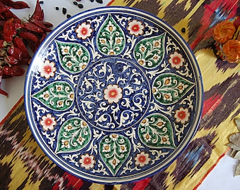 Uzbek decorative ceramic handmade painted plate 0002