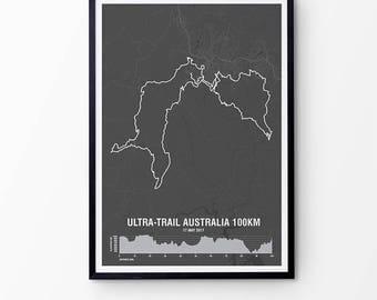 Uta map etsy uk ultra trail australia map print with elevation personalised map print marathon gift gumiabroncs Images