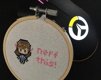"Overwatch D.Va Nerf This! 3"" Cross Stitch"