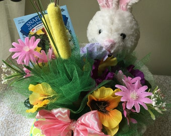 Easter Bouquet with Stuffed Bunny & Packet of Flower Seeds