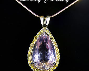 Amulet of the nymph. 14 ct. Amethrine And Sapphires Gold Pendant. Free shipping.