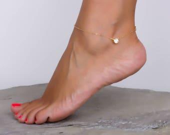 Stone Anklet - 14k Gold Filled Anklet - Gold Ankle Bracelet - Cz Anklet - Bridesmaid Anklet - Crystal anklet - Rose Gold Anklet - 0037BA