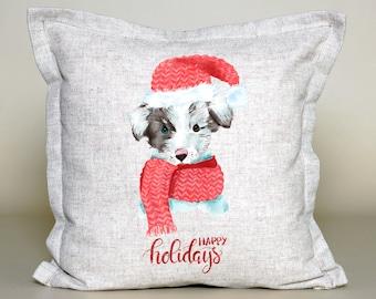 Christmas Pillow, Christmas Dog Cushion, Christmas Dog Pillow, Xmas Dog Cushion, Winter Dog Cushion, Christmas Decoration
