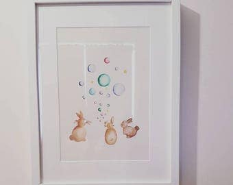 Bunnies and Bubbles hand painted picture
