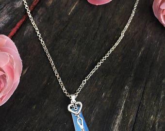Opal Pendant Heart Key Necklace Opalite Valentine's Day