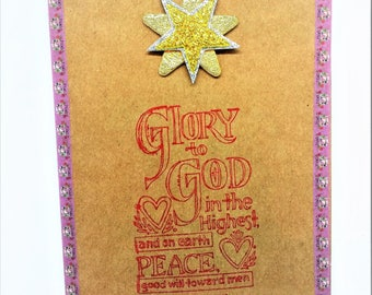 Handmade holiday card, Christmas card, New Year card with 3D star, bible verse Luke 2:14, an envelope included