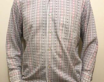 Vintage Pattern Button Down Shirt / Retro Black and Red Dress Shirt