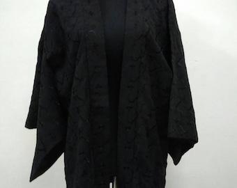 Japanese haori kimono black embroidery floral kimono jacket /kimono cardigan/kimono robe/#053