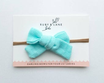 Mint Gauze Tied Bow (Headband)