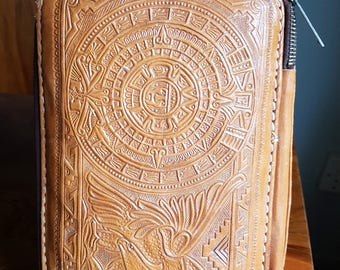 Amazing 1950's Mexican Tooled Toilet or Make up Bag