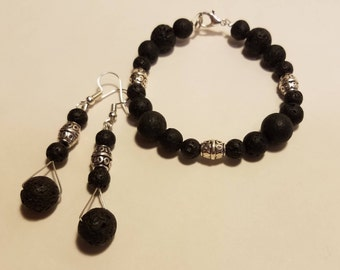 Lava Bead Jewelry Set - Bracelet and Earring Set - Stainless Steel Wire/Black/Silver