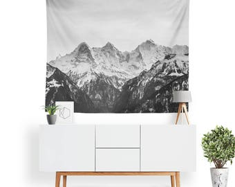 Alpine Tapestry | Nature Tapestry | Mountain Wall Decor | Monochrome | Grayscale | Boho Tapestries | Landscape | Mountain Tapestry
