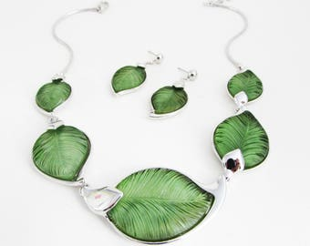 Green Leaf Necklace and Earrings, Leaf Necklace Set, Leaf Jewellery Set, Silver and Green Leaf Jewelry Set, Matching Leaf Necklace Set