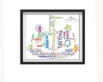 NUFC, Newcastle United Football Club Geordie Gifts Newcastle Geordie Words Newcastle Fan Toon Army Word Art JPEG Digital Download