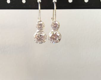 Double round cz and sterling silver earring